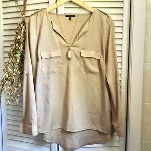 {Monteau} Cargo Style Dressy Tan Career Blouse